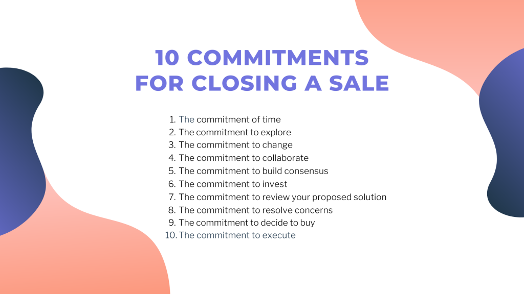 The ten commitments needed before a sale can be made - sales books takeaways