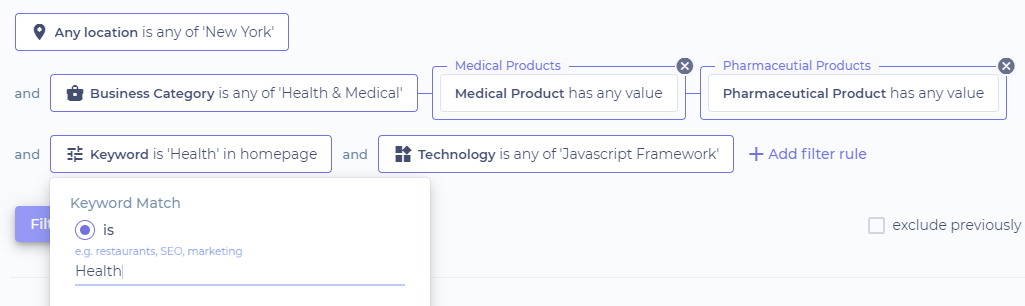 Soleadify's advanced filtering feature